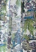 Thibaut Asian Scenic Fabric in Coral and Green